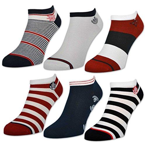 sockenkauf24 6 oder 12 Paar Damen Sneaker Socken Maritim Damensocken Ringel Punkte Muster - 36737 (39-42, 6 Paar | Farbmix) -