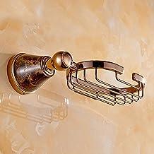 HAIZHEN Panier de savon porte-savon de cuivre de style européen le réseau de savon d'or Suspendre porte-savon jade naturel pendentif salle de bains matériel Salle de bains Accessoires ( Couleur : C )