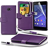 ( Purple ) Sony Xperia M2 Ledergeldbörse Flip Hülle Tasche Mit-Schirm-Schutz-Schutz & Aluminium In Ear Ohrhörer Stereo-Kopfhörer-Kopfhörer Hands Free-Headset mit Mikrofon Mic & On-Off-Taste Einbau By Spyrox
