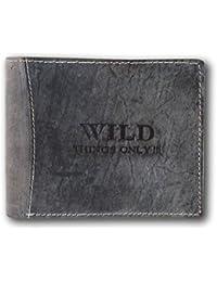 Herren Geldbörse Portemonnaie Geldbeutel Leder WILD Things Only!!! Querformat