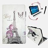 Aldi - MEDION LIFETAB P10400 (MD 99775) - 10.1 Zoll Drehbare Tablet Schutztasche mit Standfunktion + Touch Pen 10 Zoll Paris Blume 360_