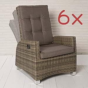 6 XL Luxus Rocking Chair Polyrattan Monte-Carlo Gartensessel braun Gartenstuhl