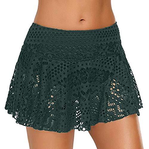 YWLINK Damen Elegant Sexy Bikini Bottom Lace Crochet Skirted Badeanzug Kurz Skort Schwimmrock Strand Kurzer Rock(B Grün,XL) -