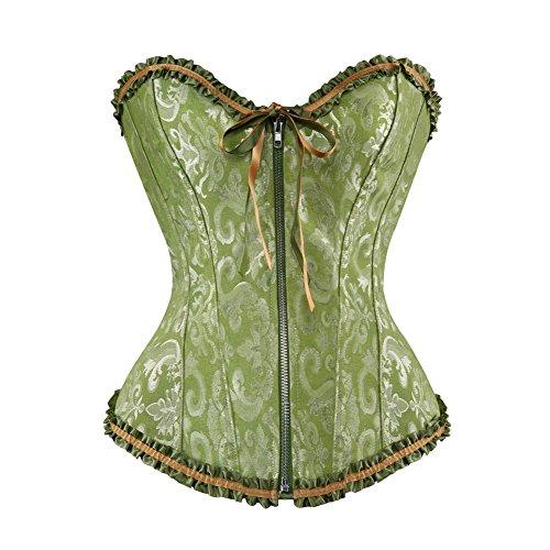 Valin Tapestry Front Zipper Deman 2018 Klassisch Corsage Korsett mit G-String,Grün,XL (Tapestry-korsett-set)