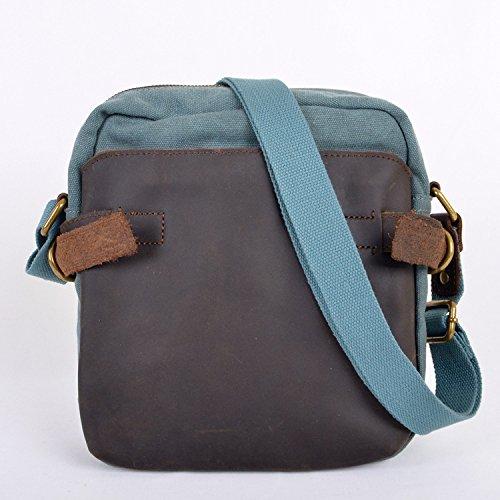 Meoaeo Single Schulter Obliquer Querschnitt Tasche Retro Leder Canvas Tasche Royal Blue