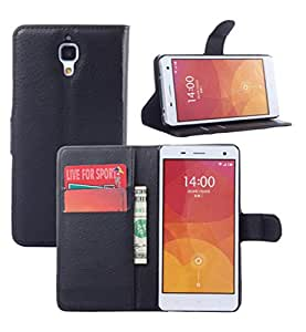 High quality Leather case, Wallet flip cover for Xiaomi Mi4 | leather flip cover for Mi4 - Black