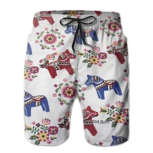 New Floral Swedish Dala Horses Men's Beach Pants,Shorts Beach Shorts Swim Trunks - XXL