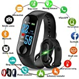 AKMY M3 Fit Band Activity Tracker Heart Rate Monitor, Sleep Monitor, Calore Burned OLED Display Activity Tracker Bracelet Wristband USB Charging for Android iOS (Black)