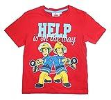 Feuerwehrmann Sam Jungen T-Shirt (Rot, 110)