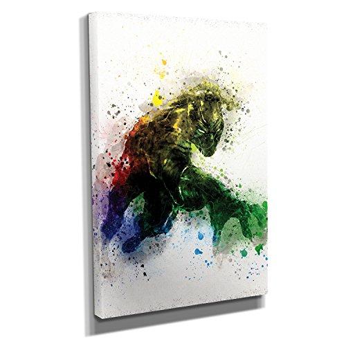Nerdinger Panther Splash - Kunstdruck auf Leinwand (30x45 cm) zum Verschönern Ihrer Wohnung. Verschiedene Formate auf Echtholzrahmen. Höchste Qualität.