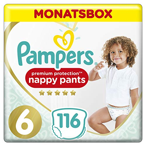 Pampers Premium Protection Pants, Gr. 6, 15+kg, Monatsbox, 1er Pack (1 x 116 Stück)