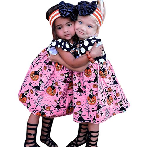 Kleid mädchen Kolylong® 1 PC (0-6 Jahre alt) Baby Mädchen Drucken Kleid Halloween Cosplay Party Kleid Partei Abendkleid Halloween Kostüm Outfits (90CM (2-3 Jahre alt), Rosa)