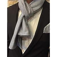 Exklusiver Herren Schal mit passendem Einstecktuch in Blau gemustert Reine Baumwolle