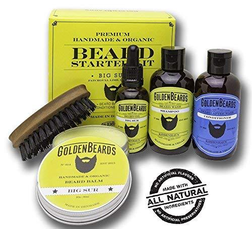 Bartpflege-Set Bart-Set für Männer Geschenk - Patchouli & Limette & Lavendel Bart Set Boxed - Organische Bart Öl und Balsam Bart Pflege Kit - Big Sur Golden Beards (Lavendel-balsam-öl)