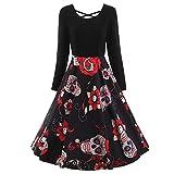 IZHH Retro Dirndl Kleider Sommerkleider Rockabilly 50er Vintage Retro Kleid Petticoat Faltenrock Kleider(T-Schwarz1,Medium)