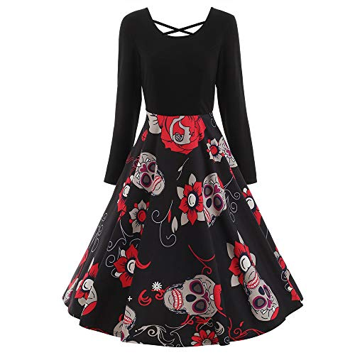 MAYOGO Halloween Kostüm Damen Schädel Korsett Lange Party Kleid mit Rot Blume Printing,Elegant...