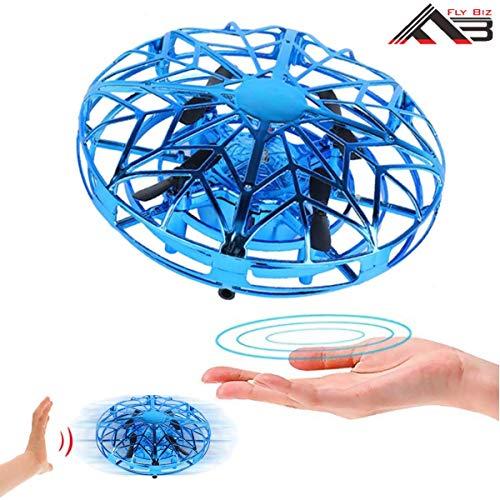 Flybiz Mini UFO Drone, para Niños UFO Drone Recargable Mini Quadcopter Movimiento Control Mano Drone Flying Toys con Led Light Beginner RC Helicóptero Regalos para Niños Adultos