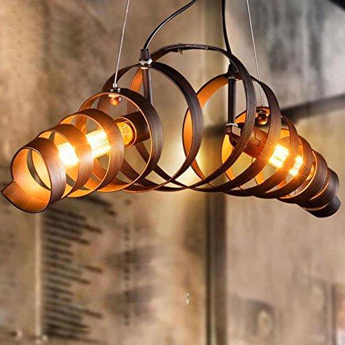 American Style Retro Industrial Metal Pendelleuchten Spiralschatten Loft Bar 2 Way E27 40W Max Style Deckenleuchten suspendiert [Energieklasse A ++] (Öl-swirl)