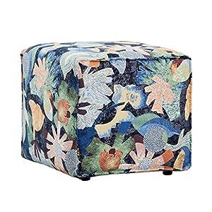 Ibuprofen Schuhbank Cube Flowers Kleiner Hocker Ottoman Niedriger Hocker Stoff Hocker Kleine Bank Couchtisch Hocker Abnehmbar/Waschbar 19.7 * 19.7 * 15.7In