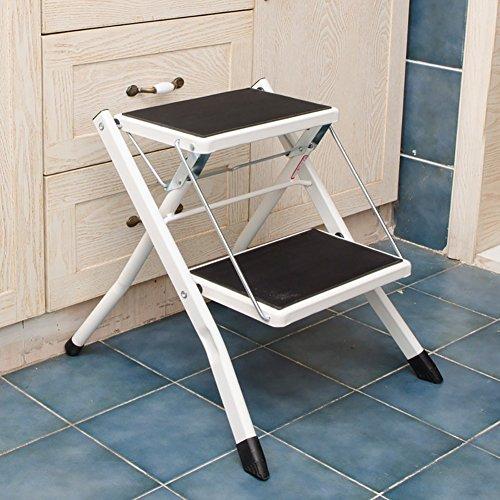 ChangDe Holzstufenhocker Home 2 Schritt Stuhl für Erwachsene und Kinder Stuhl Anti-Rutsch-Leiter tragbare Hocker/Trittleiter/Lagerregal/Blume Stehen Trittleiter aus Holz (Color : White)