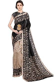 79461be6b41834 EthnicJunction Women s Khadi Silk Saree With Blouse(Beige And  Black