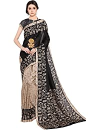 EthnicJunction Women's Khadi Silk Saree With Blouse(Beige And Black,EJ1168-7003)