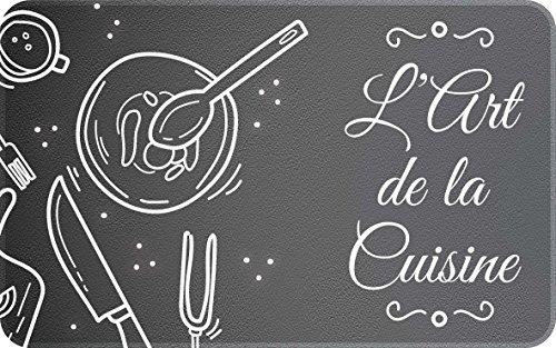 ID Mat Decor l'art DE LA Cuisine, Fibres Synthétiques, Noir, 50x80x0,4 cm