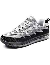 Zapatillas de Deportivas Fitness Montaña Unisex Zapatos Plano Cordones Air Cushion Knit Calzado Hombre Negro Azul