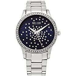SO & CO New York Women's Quartz Watch with Blue Dial Analogue Display and Silver Stainless Steel Bracelet 5239.2