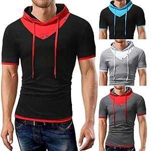 Zarupeng T-Shirt mit Kapuze für Herren, Sommer Stretch Sweatshirt Casual Patchwork T-Shirt Kurzarm Pullover Top Jumper