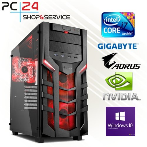 PC24 GAMING PC | INTEL i7-8700K @6x4,50GHz | 250GB M.2 970 EVO SSD | nVidia GF RTX 2070 mit 8GB RAM | 16GB DDR4 PC2133 RAM | Gigabyte Z390 Aorus Pro | 600Watt 80+ ATX Netzteil | Windows 10 Pro | i7 Gamer PC (Titan Gtx Black)