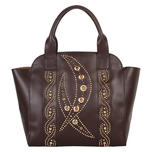 Paint Genuine Leather Studded Structured Brown Handbag(PT2152HB128)