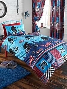 parure linge de lit housse de couette 1 taie d oreiller enfant velo bmx pour un lit 1 personne. Black Bedroom Furniture Sets. Home Design Ideas