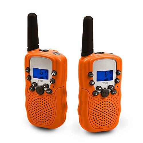 Upgrow RT-388 Walkie Talkie für Kinder Funkgerät mit Akkus Aufladbar Kinder Funkgerät Funk Handy, 8 Kanäle mit LCD-Display, Reichweite 3Km (Orange)