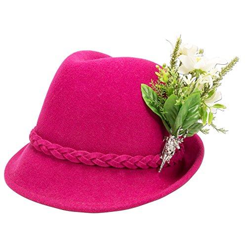 Alpenflüstern Damen Trachtenhut Filzhut Edelweiß-Blüten ADV09100M25 pink