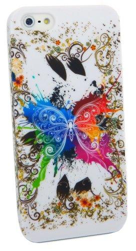Kit Me Out DE Kunststoff Aufsteckhülle für Apple iPhone SE / 5S - Kreise mit Blumen Bunter Schmetterling