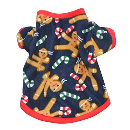 Saingace Hundbekleidung Hunde Kleider Haustier Kostüm Bekleidung Hund Welpen Weihnachten Herbst-Winter-warme Pullover Gestickte Kleidung Mantel (Kleid Kostüm Weißes Weihnachten)
