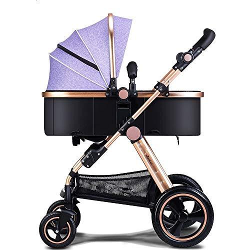 LEUSR Leichter Kinderwagen , Zwei in einem Neugeborenen Kinderwagen Compact Fold Alloy Stubenwagen Mädchen und Jungen Faltbare UV-Schutzhaube , Geeignet von Geburt an (Farbe : Lila)