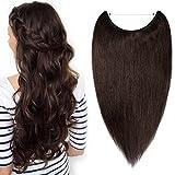 TESS Extensions Echthaar günstig 1 Tresse Remy Haarverlängerung mit Draht Haarverdichtung Glatt 20