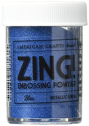 American Crafts 1-Piece 1 oz Zing Metallic Embossing Powder, Blue