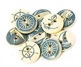 MissBirdler Holzknöpfe 10 Stück Knöpfe Set 13mm Braun 2 Löcher Seemann DIY Holz Schiff Anker Steuerrad Natur Kinder Buttons zum Nähen und Basteln