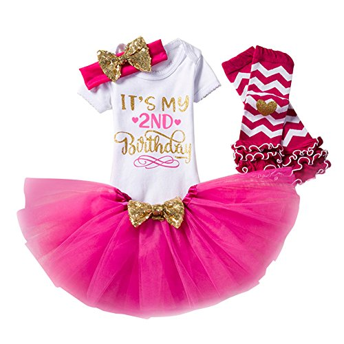 Set 4 Blusen Kleid Baby Mädchen Kleidung 1. 2. Geburtstag Geschenk Outfits Prinzessin Kleid Kinder Stück Romper + Rock Tütü Pettiskirt + Glitzer Bowknot Stirnband +Gamaschen