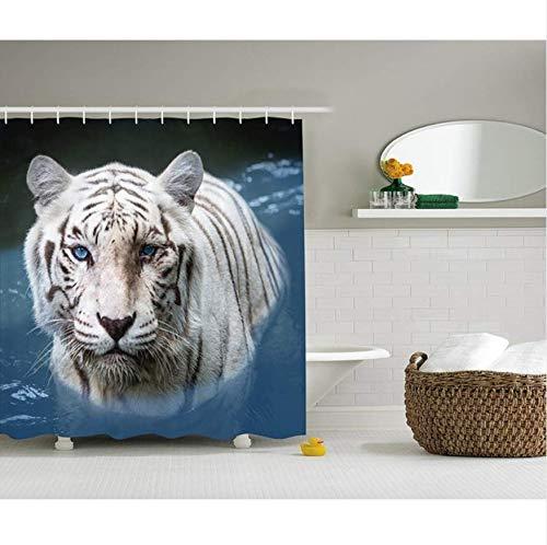 HHYSPA Fierce Tiger Duschvorhang Old Twisted Tree Print Polyester Stoff 3D Vorhang Wasserdicht Mit 12 Haken 71X71 Inch - Tiger-print-stoff