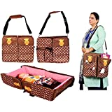 BabyGo Portable Multifunctional Baby Travel Bed Cot And Folding Mummy Diaper Bag Baby Station Brown