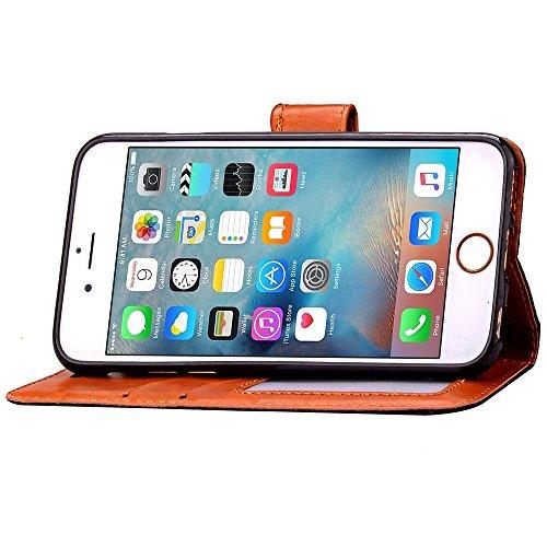 iPhone Case Cover IPhone6s Fall IPhone6s plus Fall-Abdeckung, Normallack PU-lederner schützender Fall-Mappen-Fall-Schlag-Standplatz-prägende Blumen-Kasten-Abdeckung mit Seil für IPhone6 6s und IPhon Black