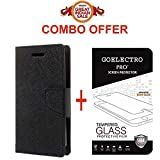 Goelectro Redmi 4 Flip Cover - For Luxury Mercury Diary Wallet Style Black Flip Cover Case for (Redmi 4 - May 2017 Launch) Redmi 4 Flip Cover + Premium Curved Hardness Tempered Glass screen protector...(Transparent)