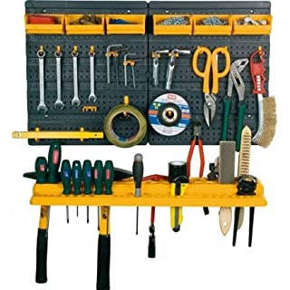 Tool Rack with Tool Shelf, 6 Containers and 19 Assorted Hooks, in Polypropylene, Supplied Empty