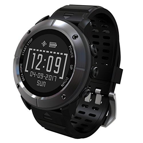Hohe Präzision GPS Wandern Smart Watch, 100% wasserdicht Sportuhr GPS für Damen und Herren, mehr als 10Modus Sport, Walking Decathlon Schwimmen mit Herzfrequenz Monitor/SOS/Kompass/Barometer Höhenmesser