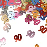 Bunt glitzerndes Konfetti mit Geburtstagszahl: 90 // Tüte mit 15g (ca. 1000 einzelne Konfetti's) // Deko Tischdeko Jubiläum Zahlenkonfetti Metallkonfetti Streukonfetti Geburtstag Birthday