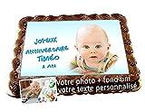 DECORATION GATEAU FEUILLE EN SUCRE COMESTIBLE, Rectangle A4 (env) 20 cm x 27 cm, votre photo sur gâteau personnalisée avec votre image et votre texte + FOND UNI ASSORTI. IMPRESSION QUALITE PHOTO. Surprenez vos proches pour une fête réussie !